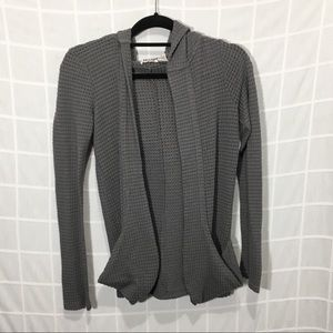 Mudd Gray Waffle Knit Open Front Hooded Cardigan